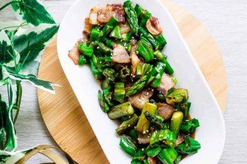 Bacon, Asparagus, Shishito Pepper Stir Fry LowCarbingAsian Cover