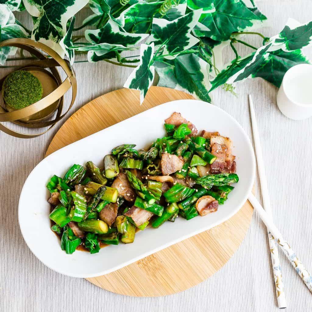 Bacon, Asparagus, Shishito Pepper Stir Fry LowCarbingAsian Pic