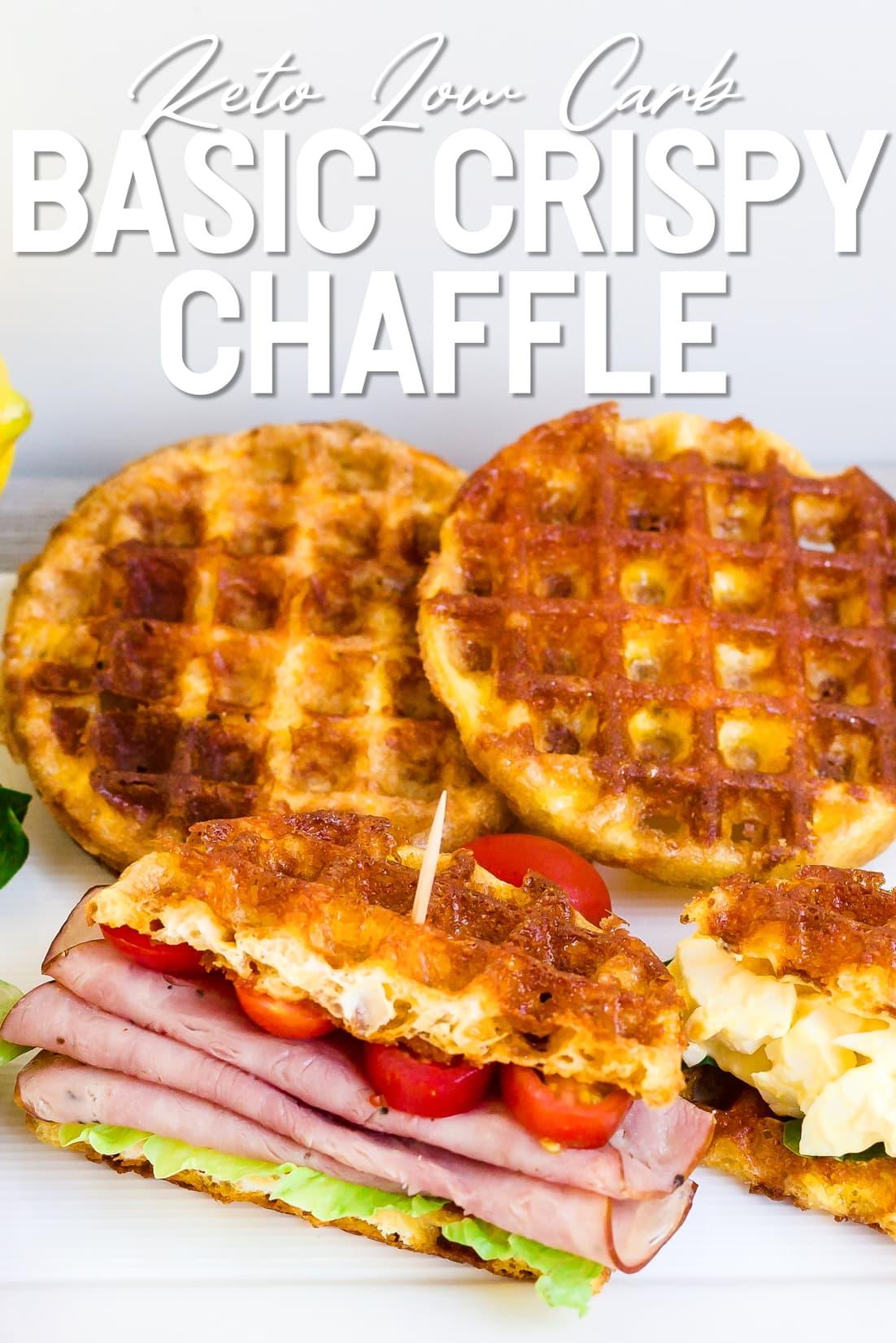 Basic Crispy Chaffle used in a ham sandwhich