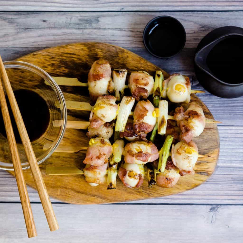 Keto Bacon Wrapped Quail Eggs - Yakitori LowCarbingAsian Pic