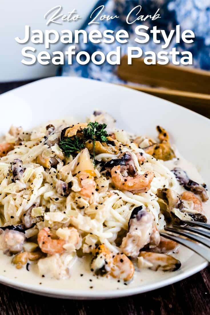 Keto Low Carb Japanese Style Seafood Pasta