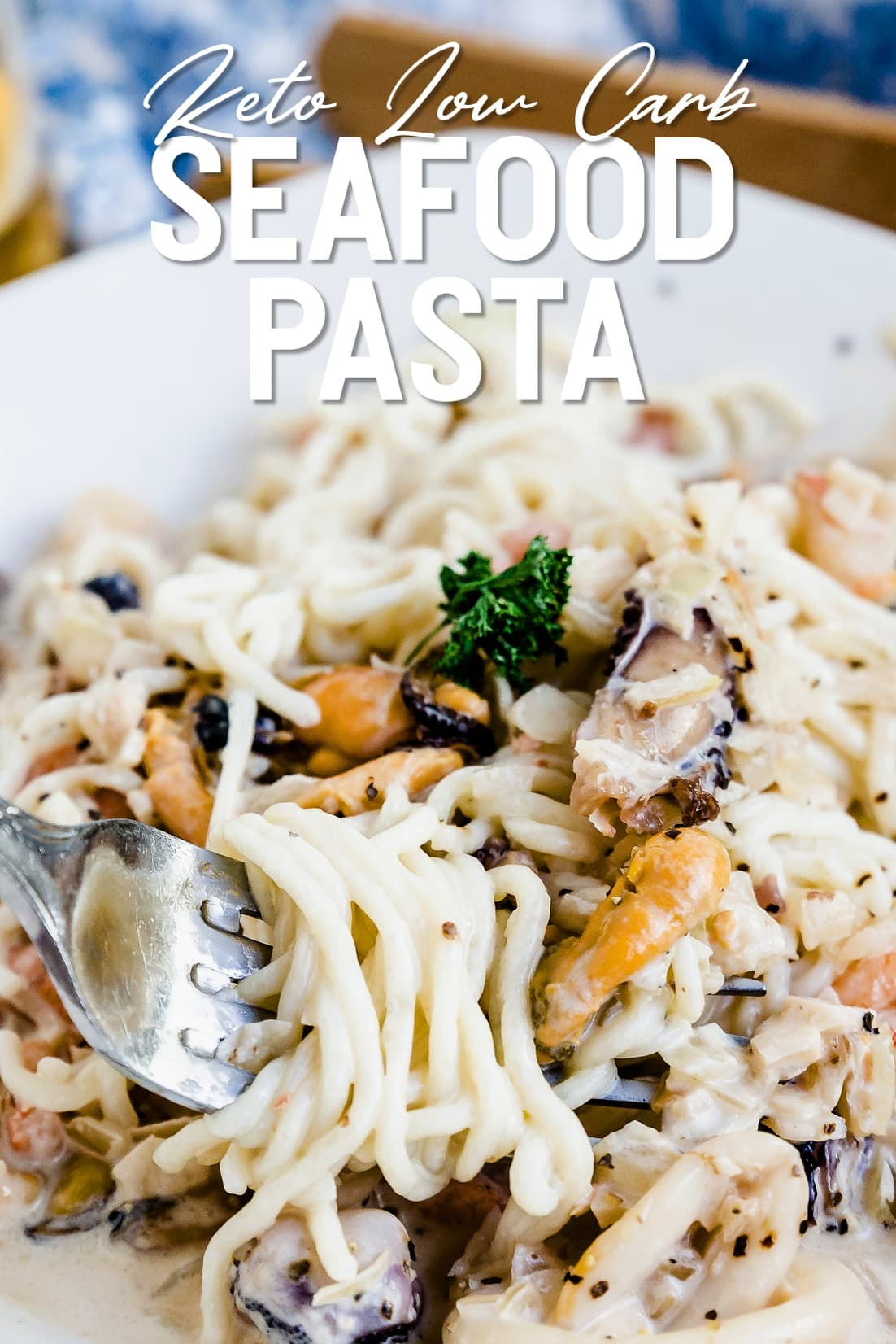Keto Japanese Seafood Pasta on a plate with a fork