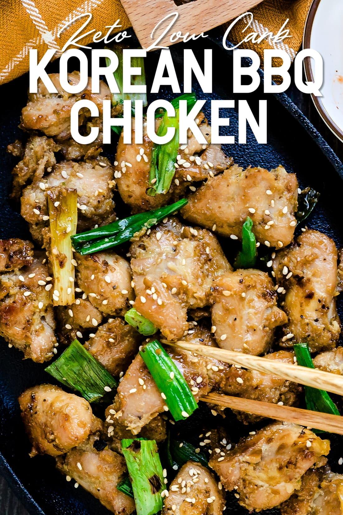 Keto Korean BBQ chicken being picked up by chopsticks
