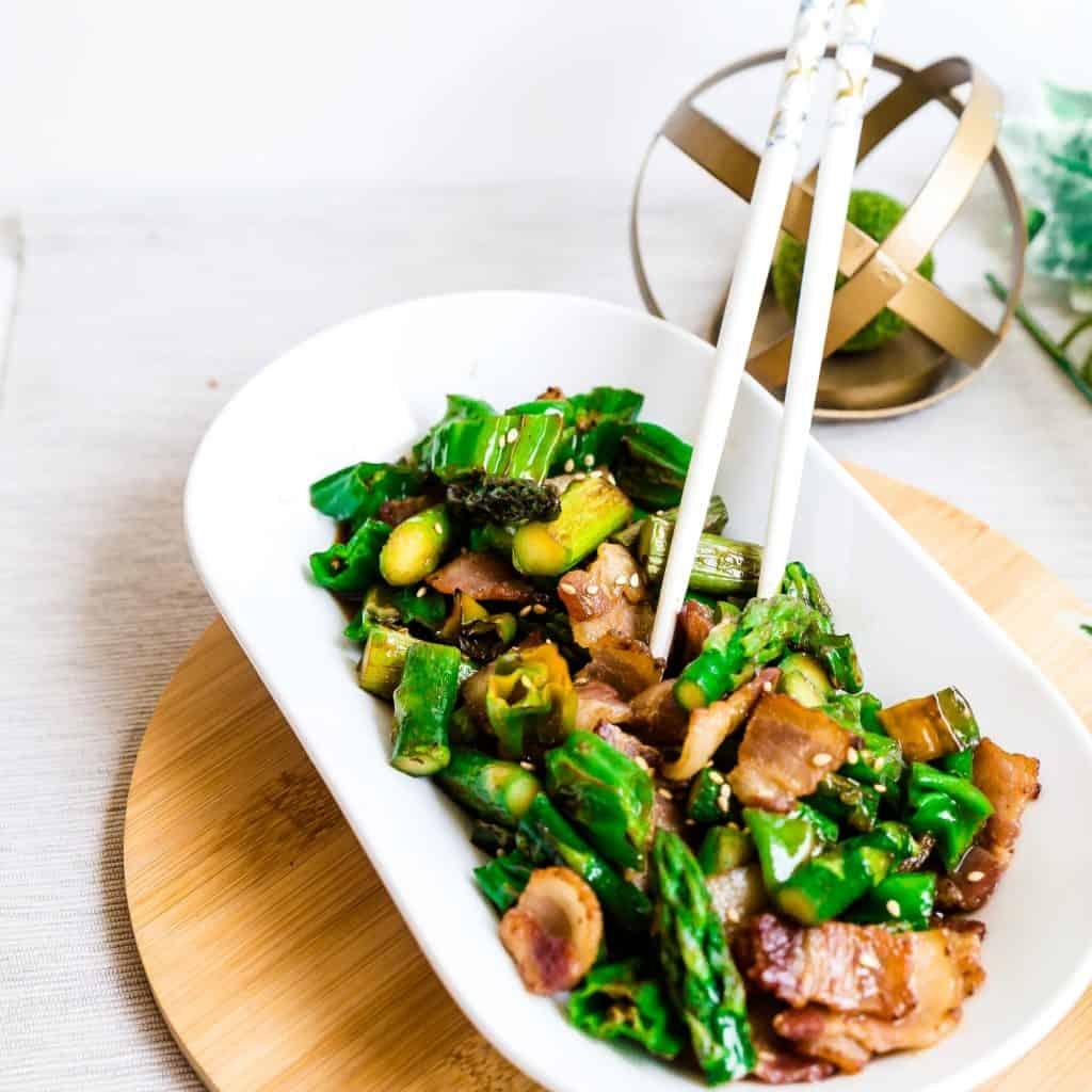 Bacon, Asparagus, Shishito Pepper Stir Fry LowCarbingAsian Pic 2