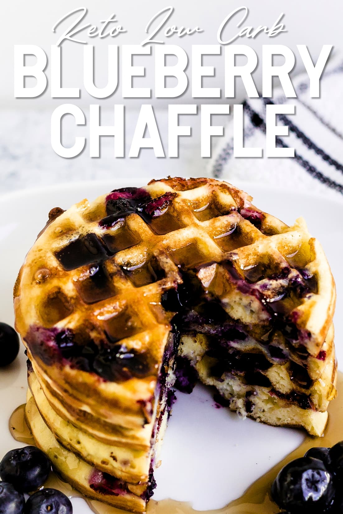 Keto Blueberry Chaffle with a piece cut out