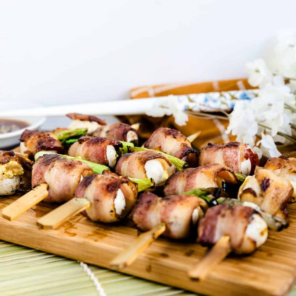 Keto Bacon Wrapped Quail Eggs - Yakitori LowCarbingAsian Pic 2