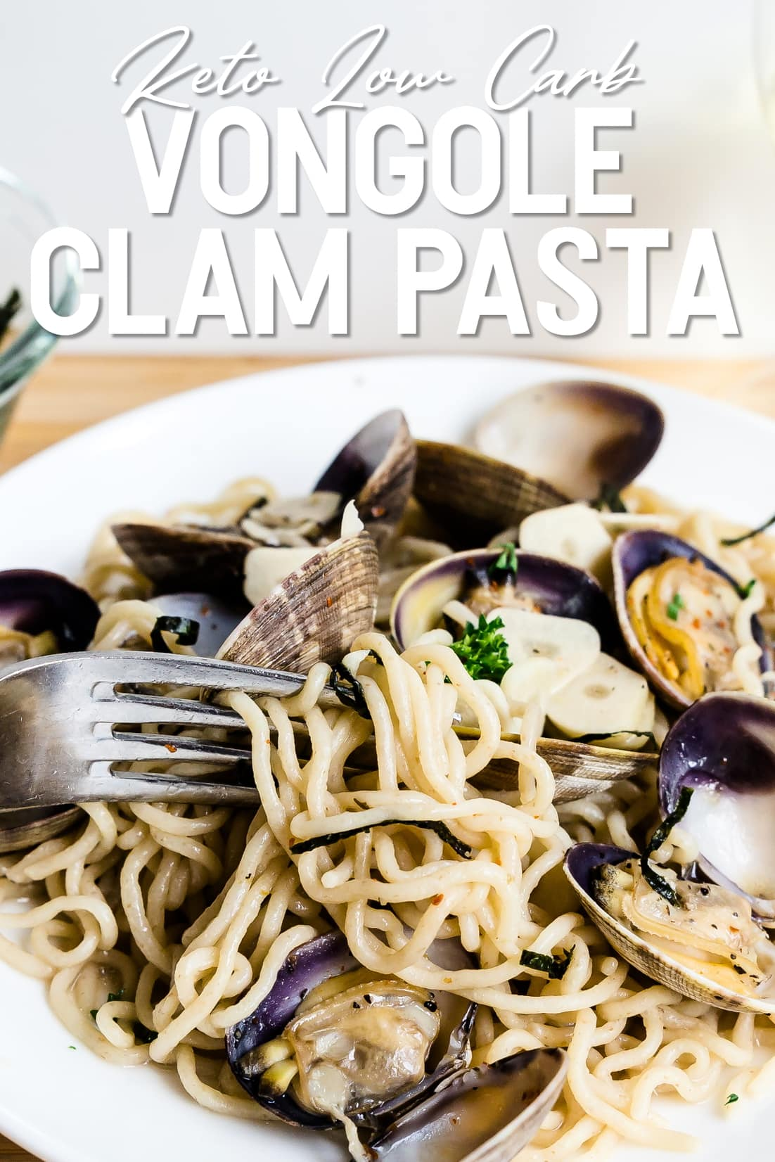 Keto Vongole Clam Pasta being picked up by a fork