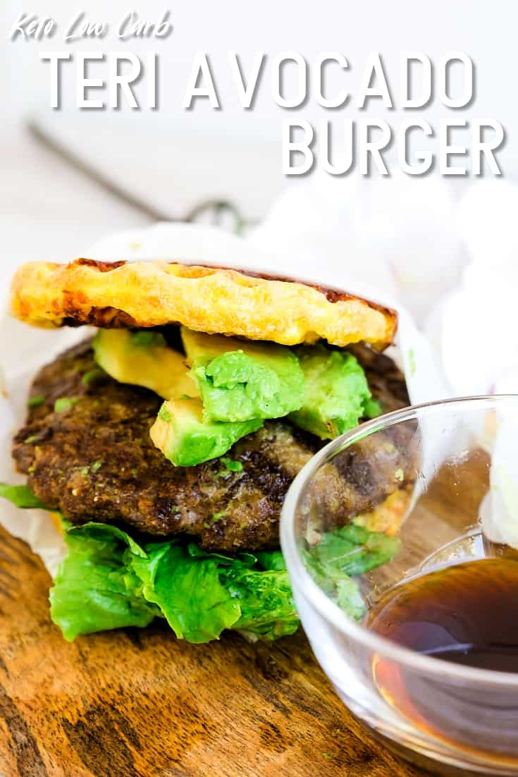 Keto Low Carb Teri Avocado Chaffle Burger