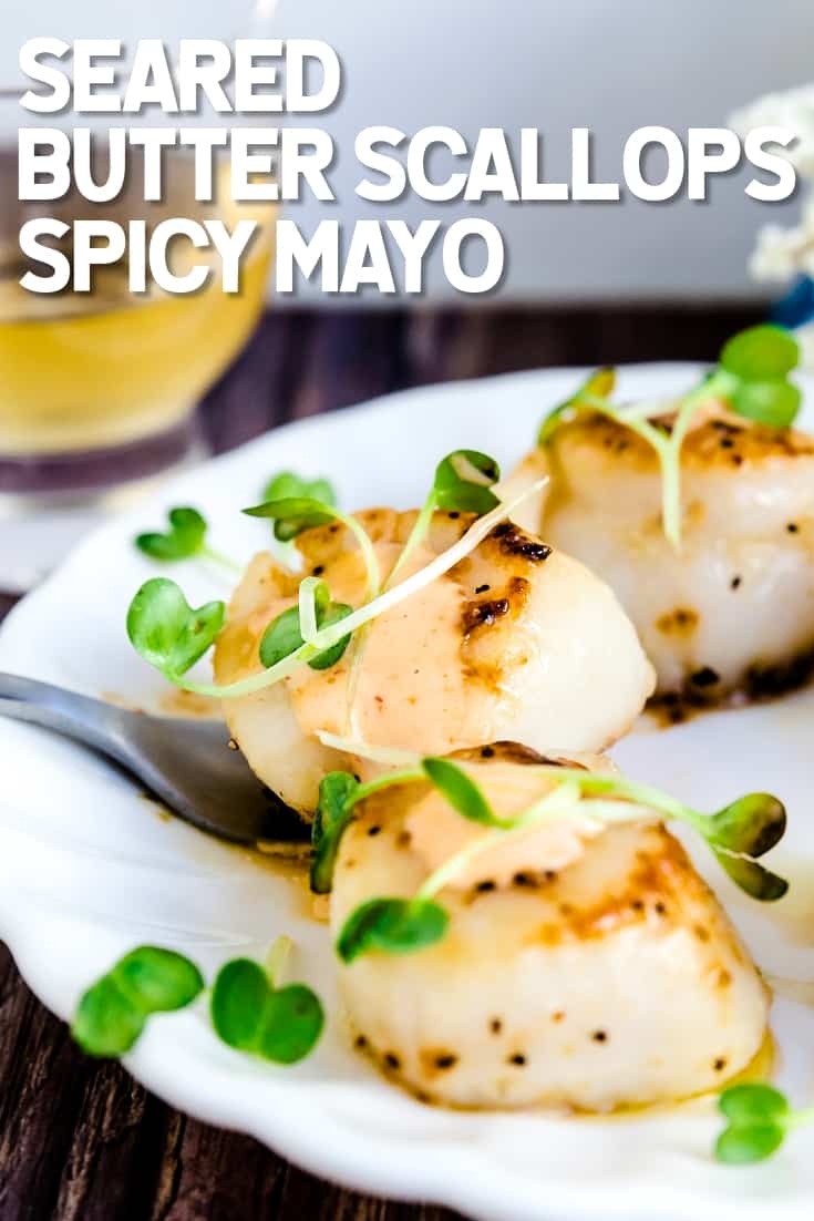 Seared Butter Scallops with Spicy Mayo LowCarbingAsian Pin 1