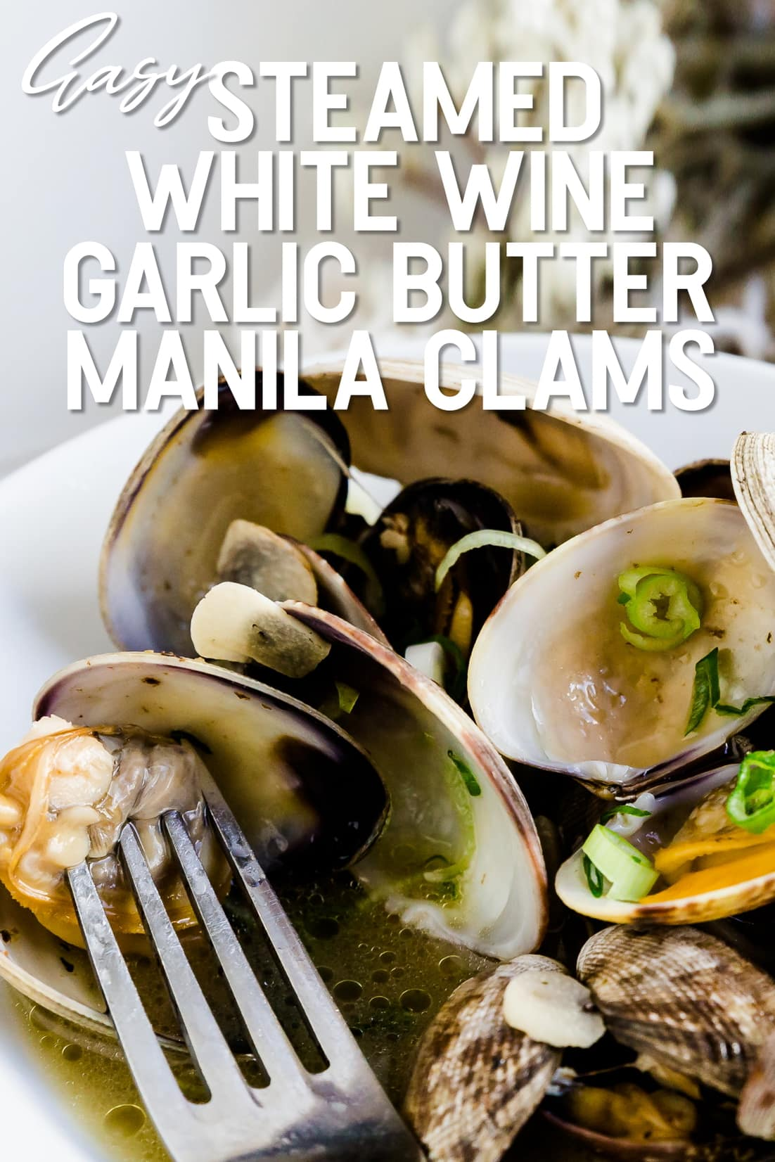 Steamed White Wine Garlic Butter Manila Clams being picked up by a fork