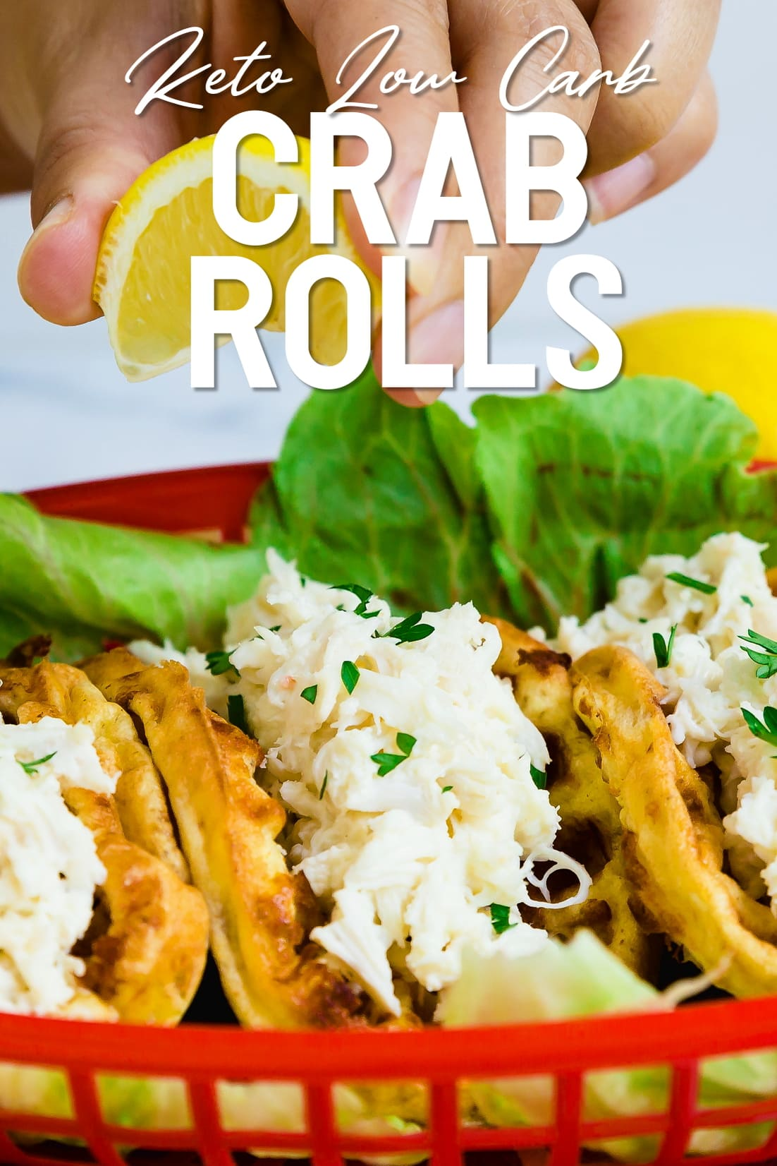 Keto Crab Roll with lemon being squeezed