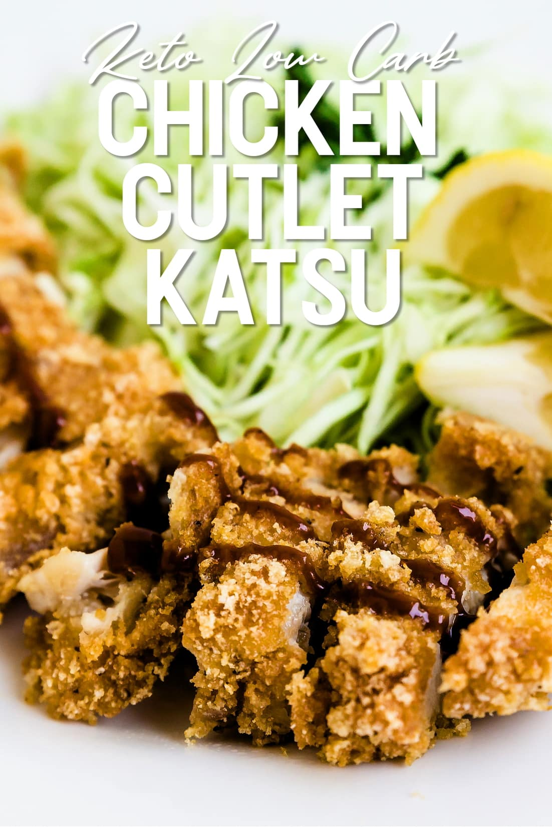 Keto Chicken Cutlet Katsu cut into slices and served with tonkatsu sauce
