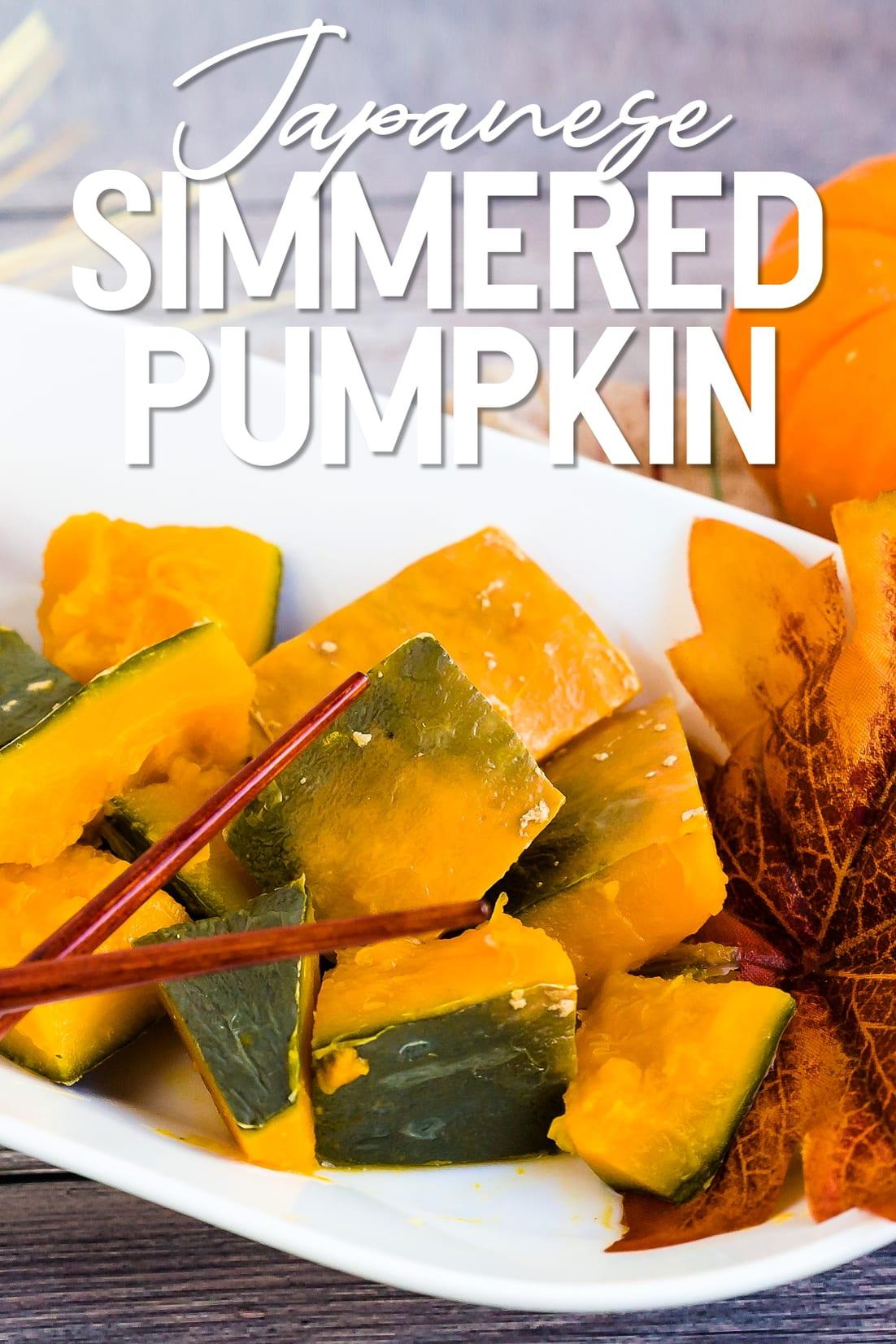 Simmered Sweet Pumpkin - Japanese Kabocha with chopsticks