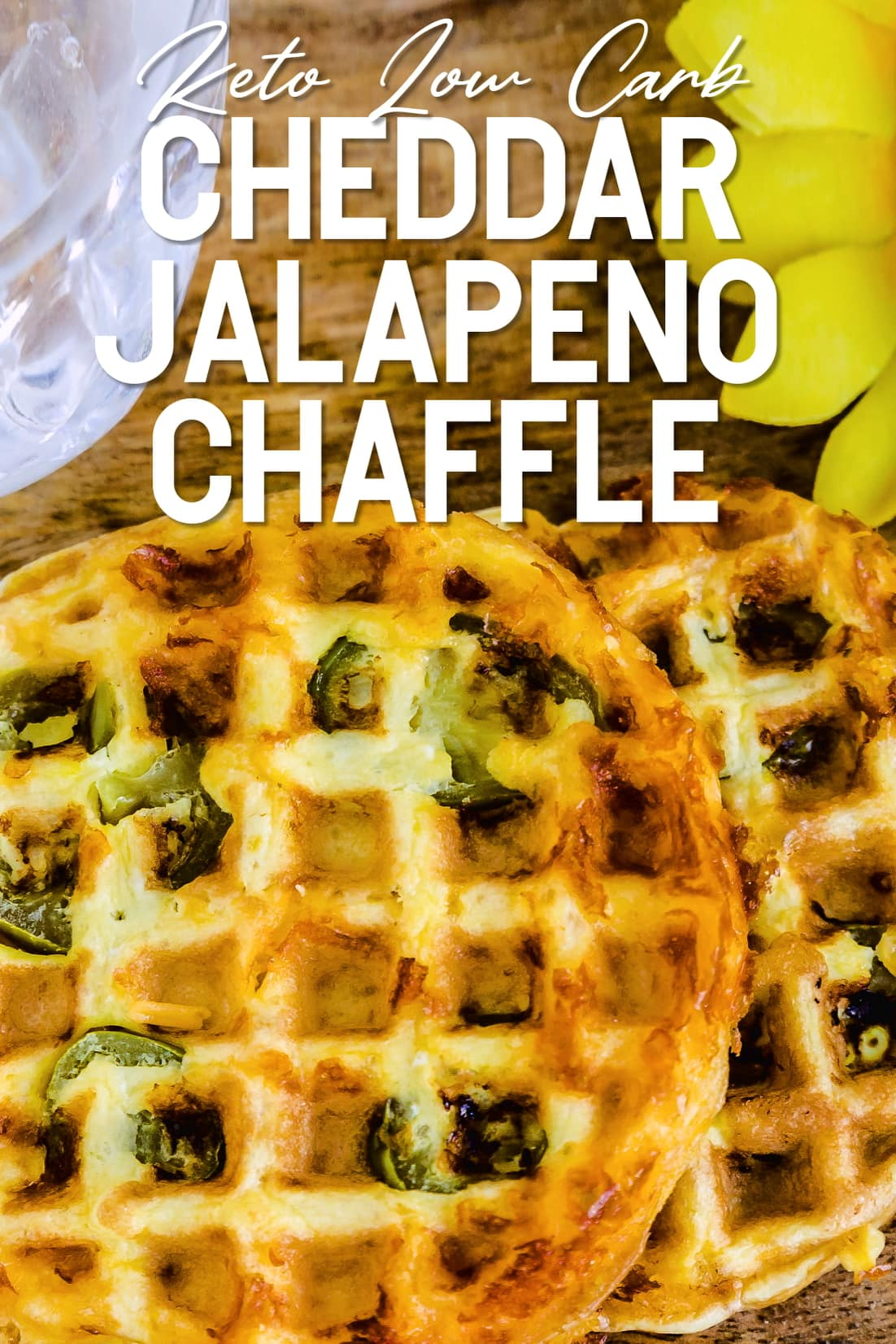Cheddar Jalapeño Chaffle served on a wooden plank