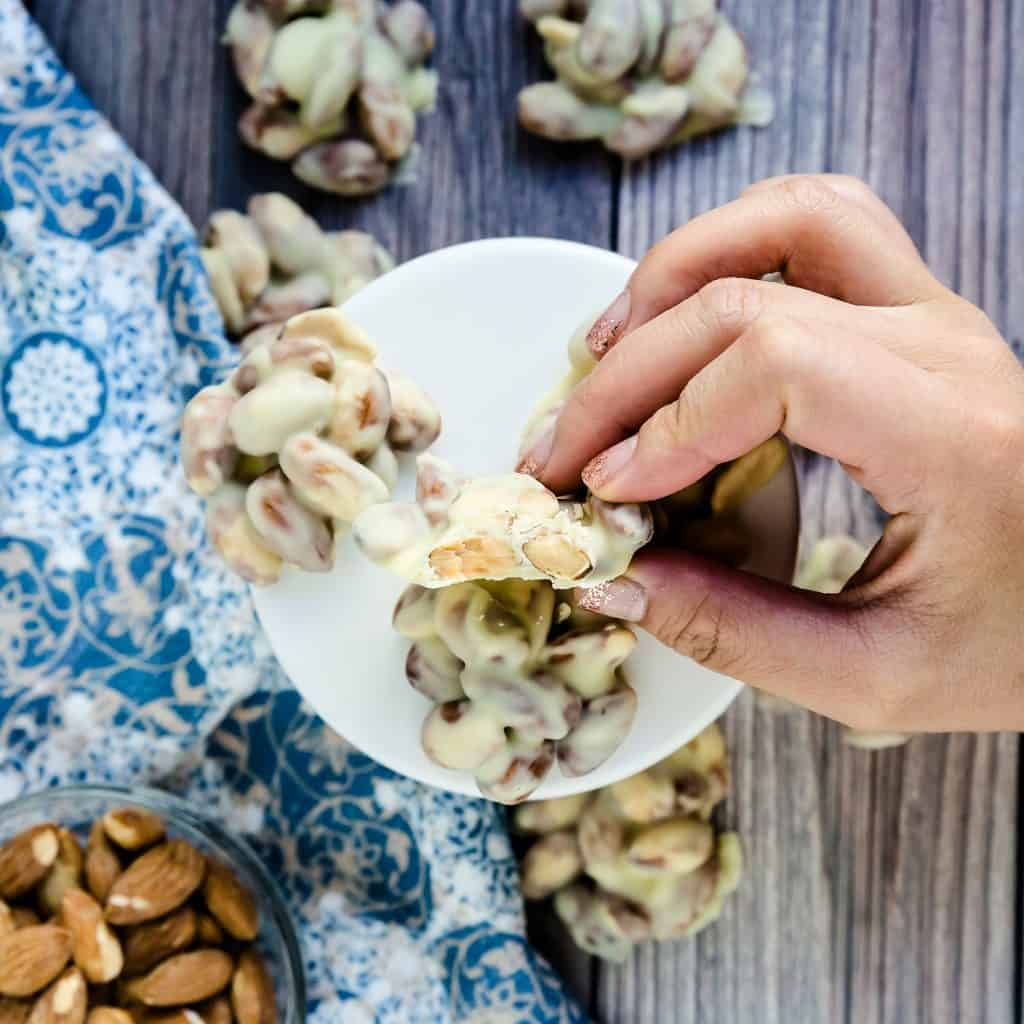 Keto Low Carb White Chocolate Almond Clusters LowCarbingAsian Pic 1