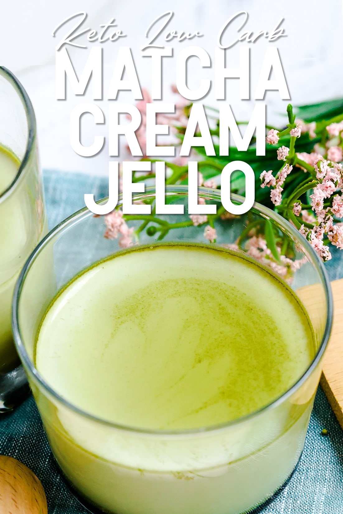 Matcha Cream Jello in a glass cup