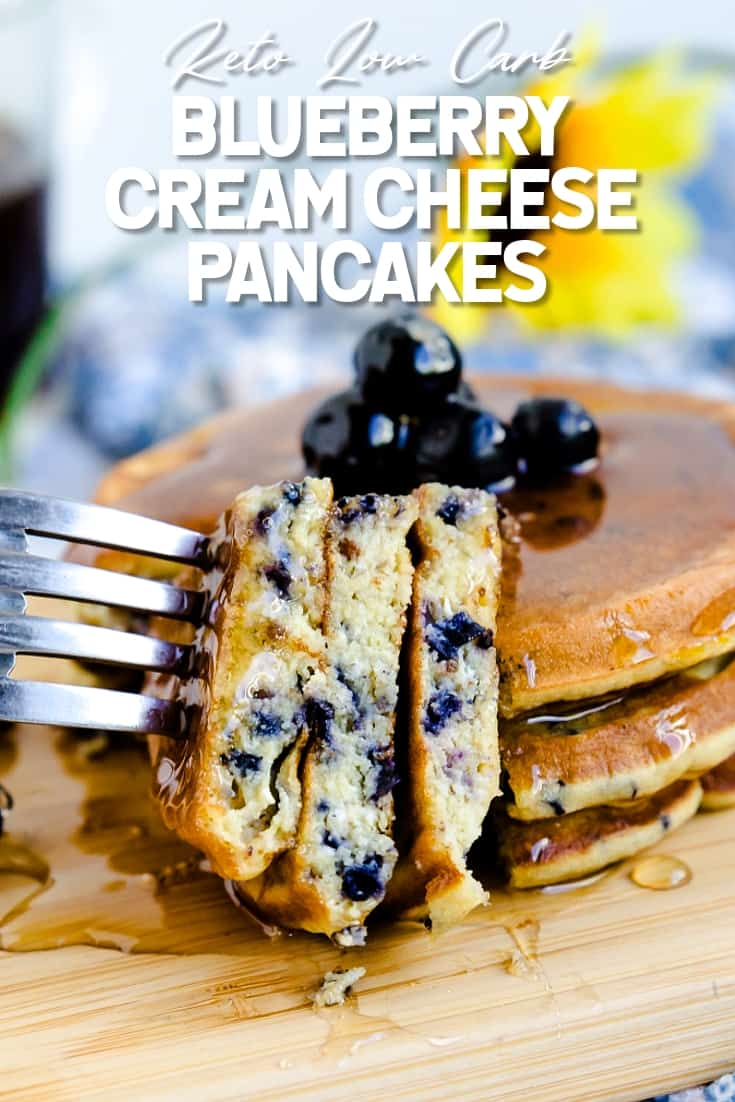 Keto Low Carb Blueberry Cream Cheese Pancakes