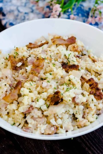 Keto Low Carb Bacon Risotto LowCarbingAsian Cover