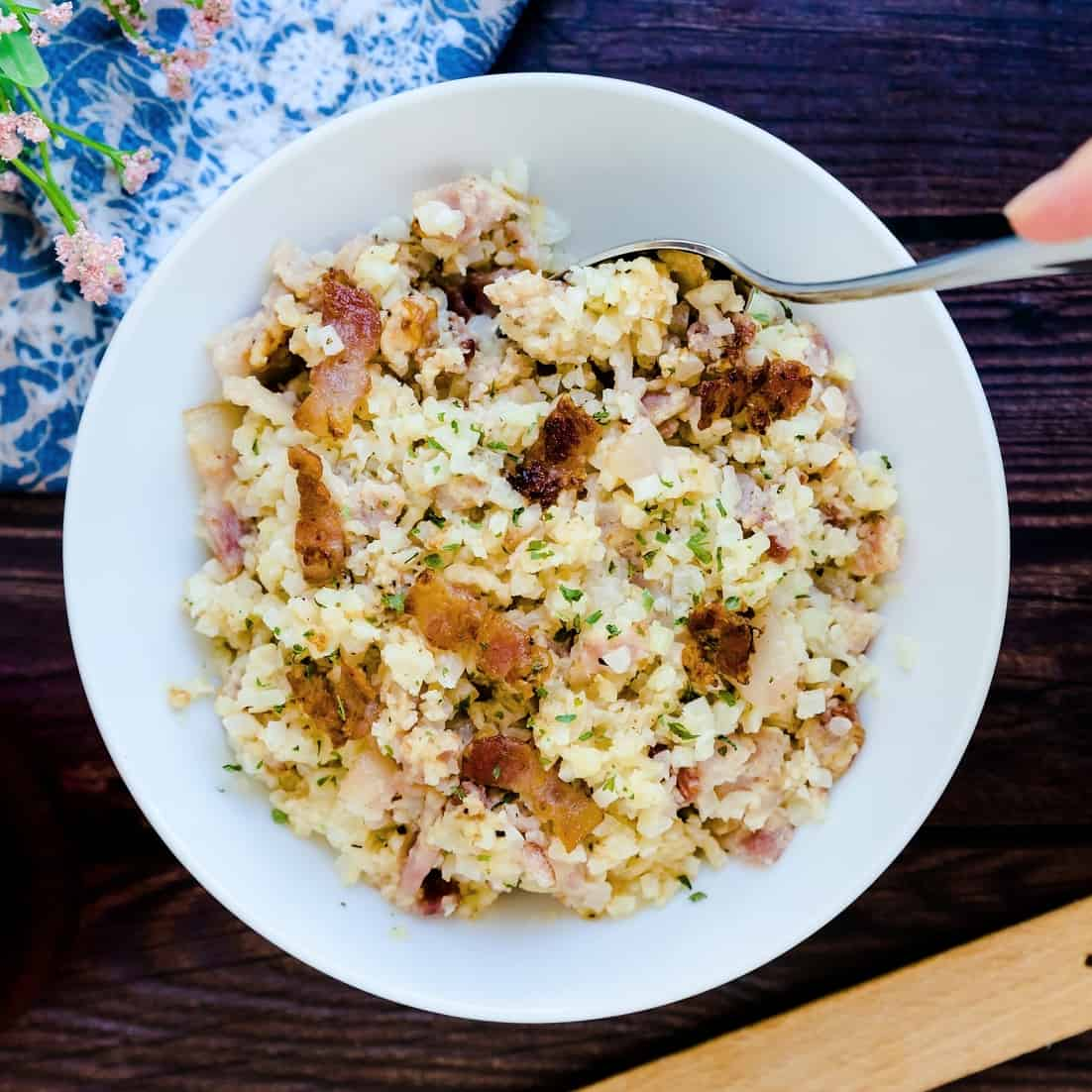 Keto Low Carb Bacon Risotto LowCarbingAsian Pic 1