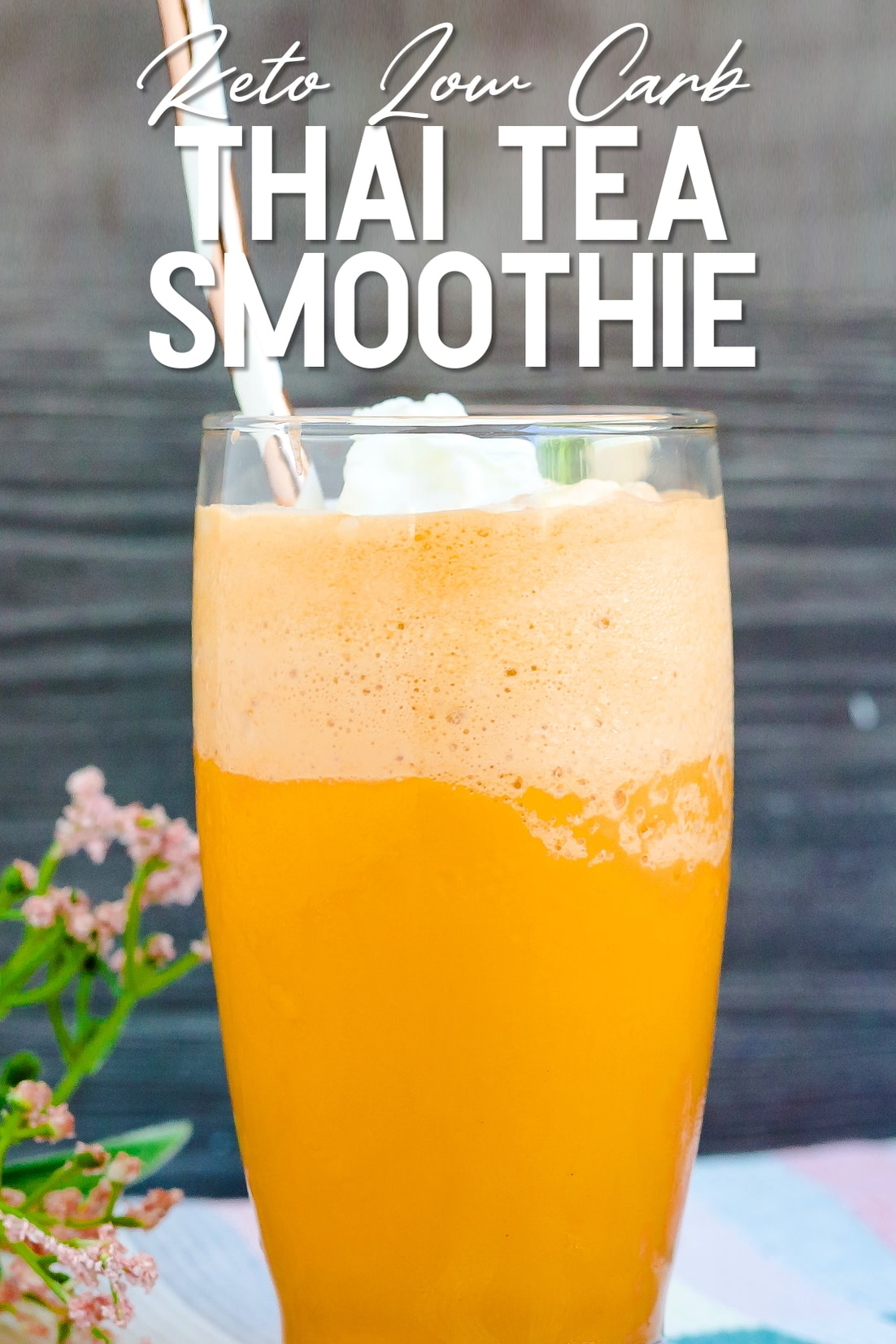 Keto Thai Tea Smoothie in a glass with a straw