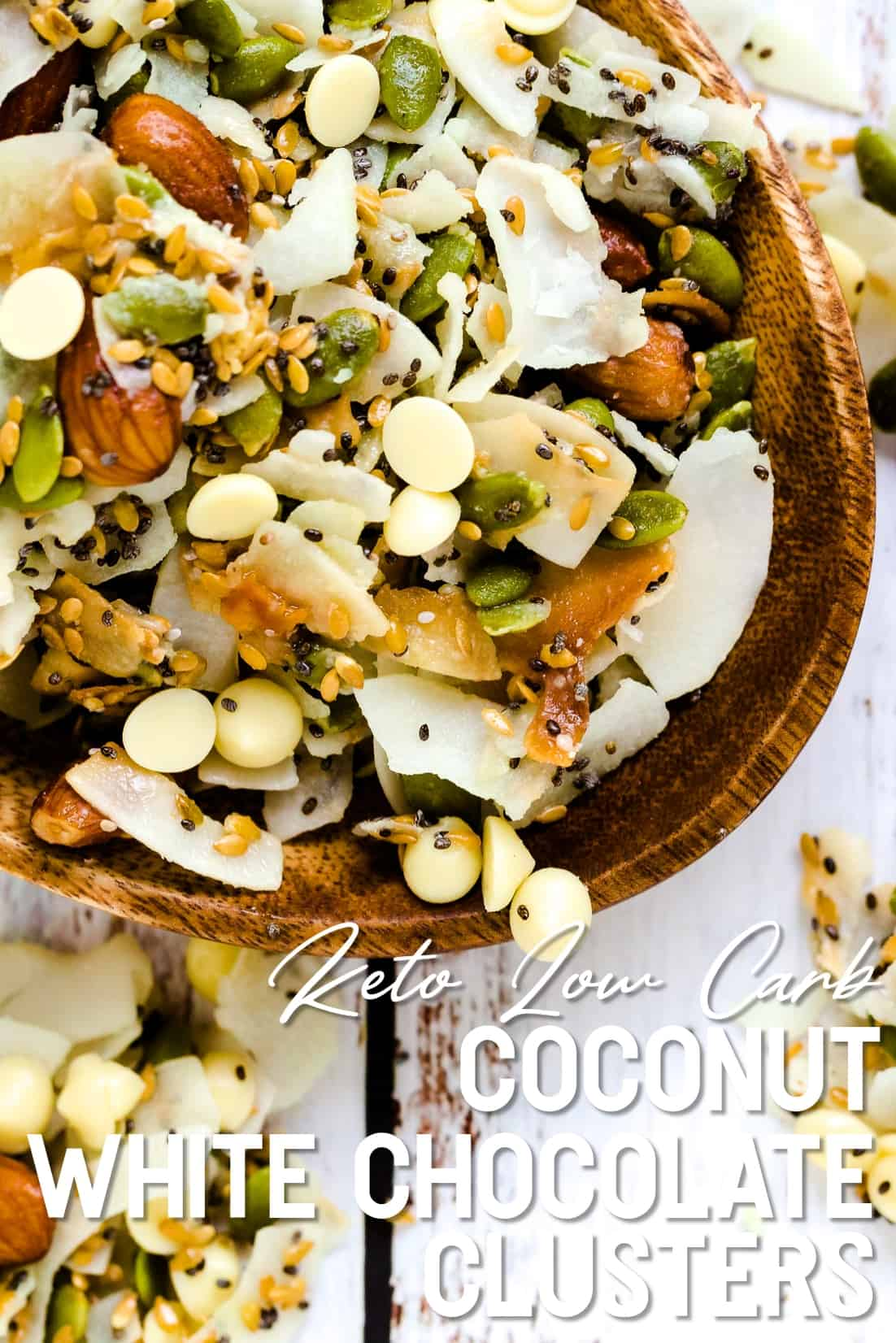 Keto Low Carb Coconut White Chocolate Clusters