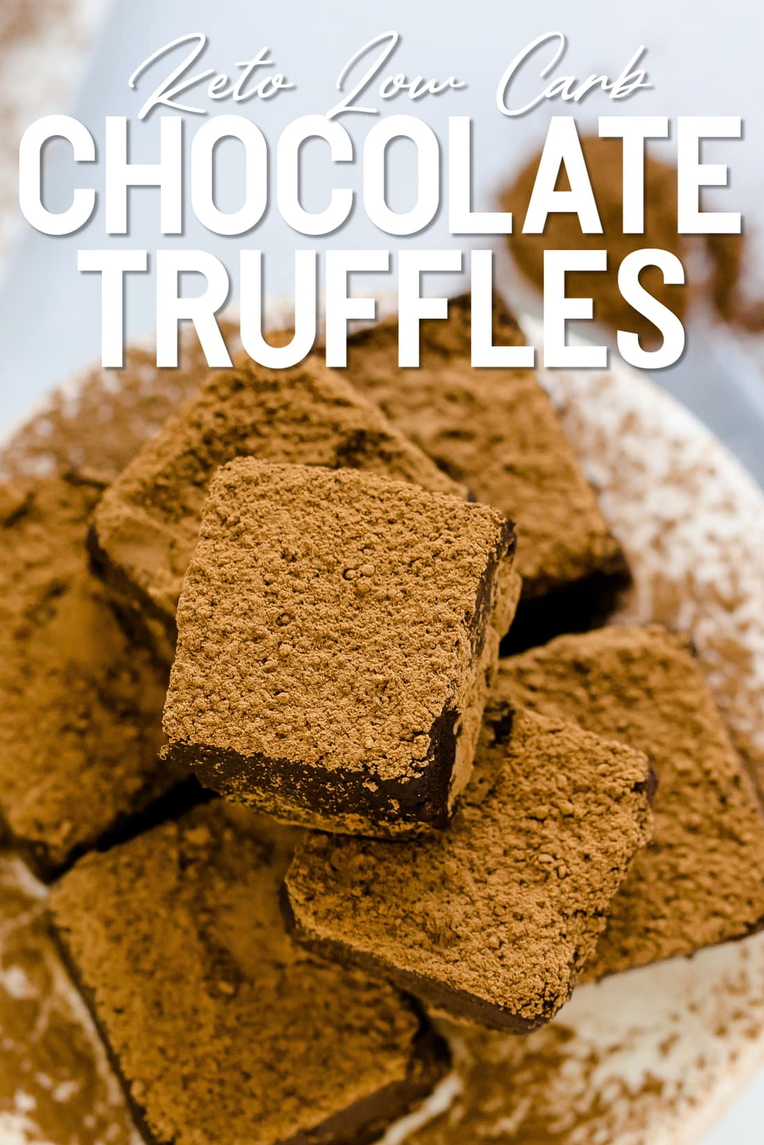 Keto Chocolate Truffles top down shot with cocoa powder sprinkled on top