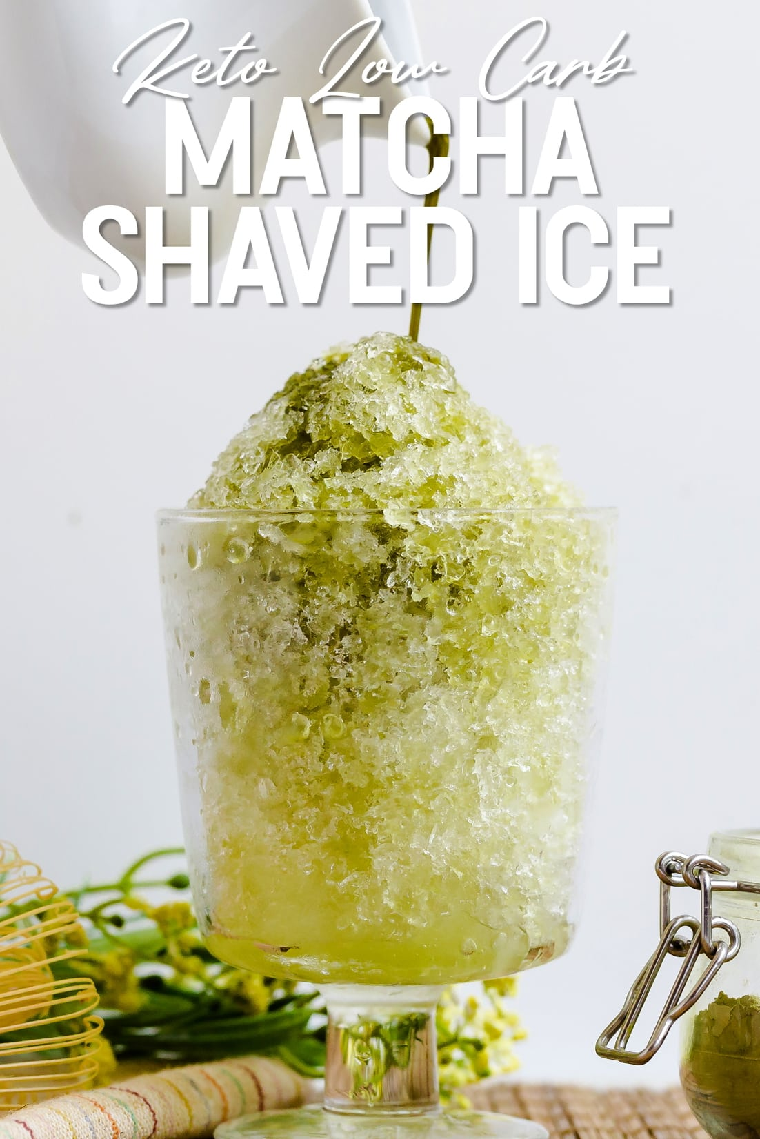 Keto sugar free Matcha Shaved Ice syrup being poured on top of shaved ice
