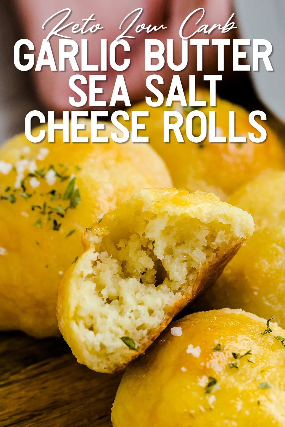 Garlic Butter Sea Salt Cheese Rolls torn into two