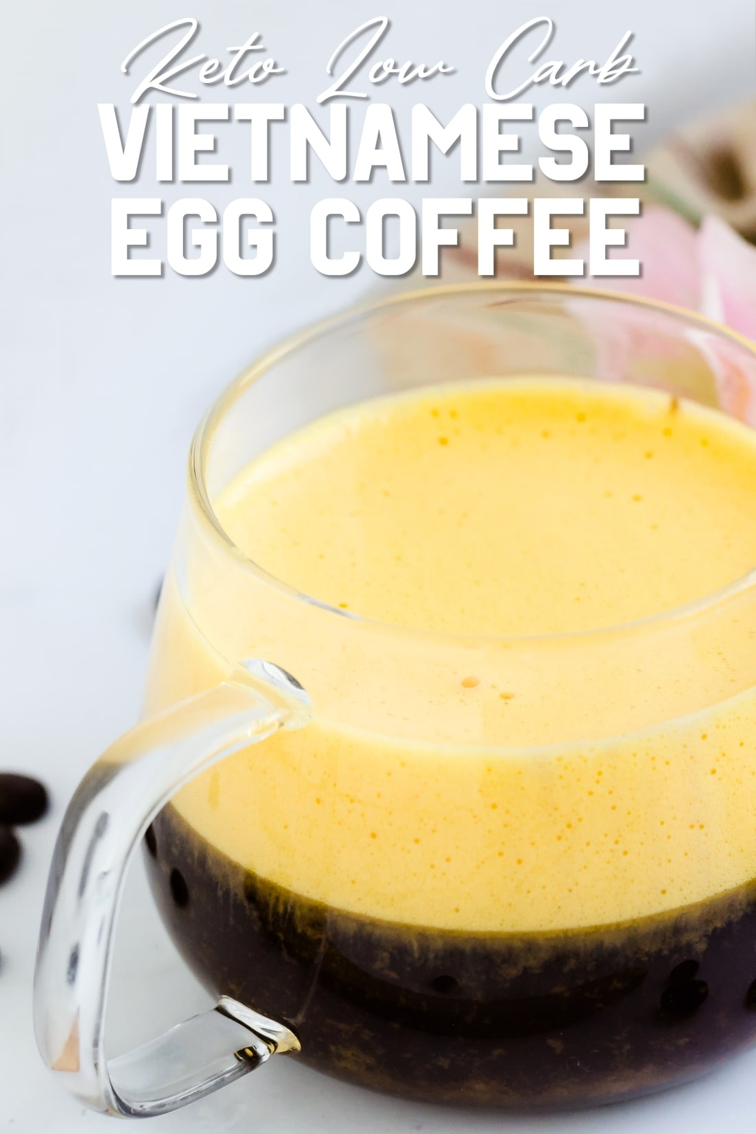 Keto Low Carb Vietnamese Egg Coffee Top Side Shot
