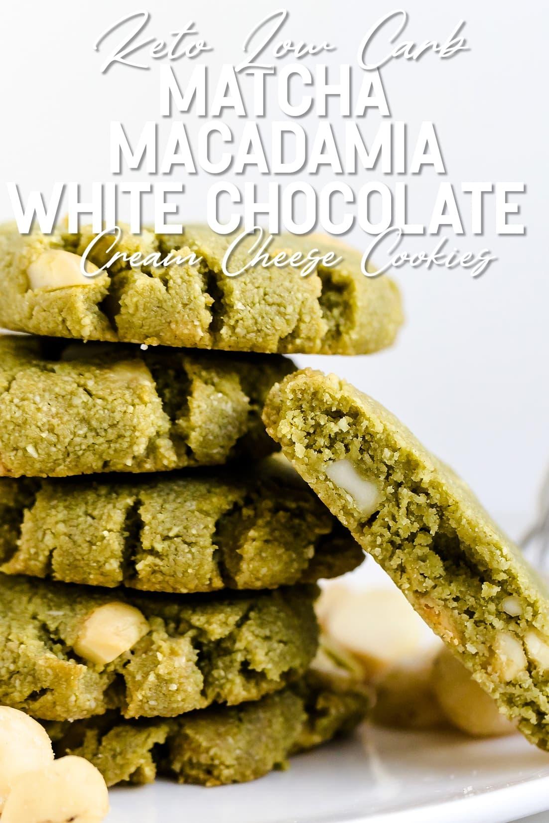 Matcha Cream Cheese Macadamia White Chocolate Chip Cookies stacked together