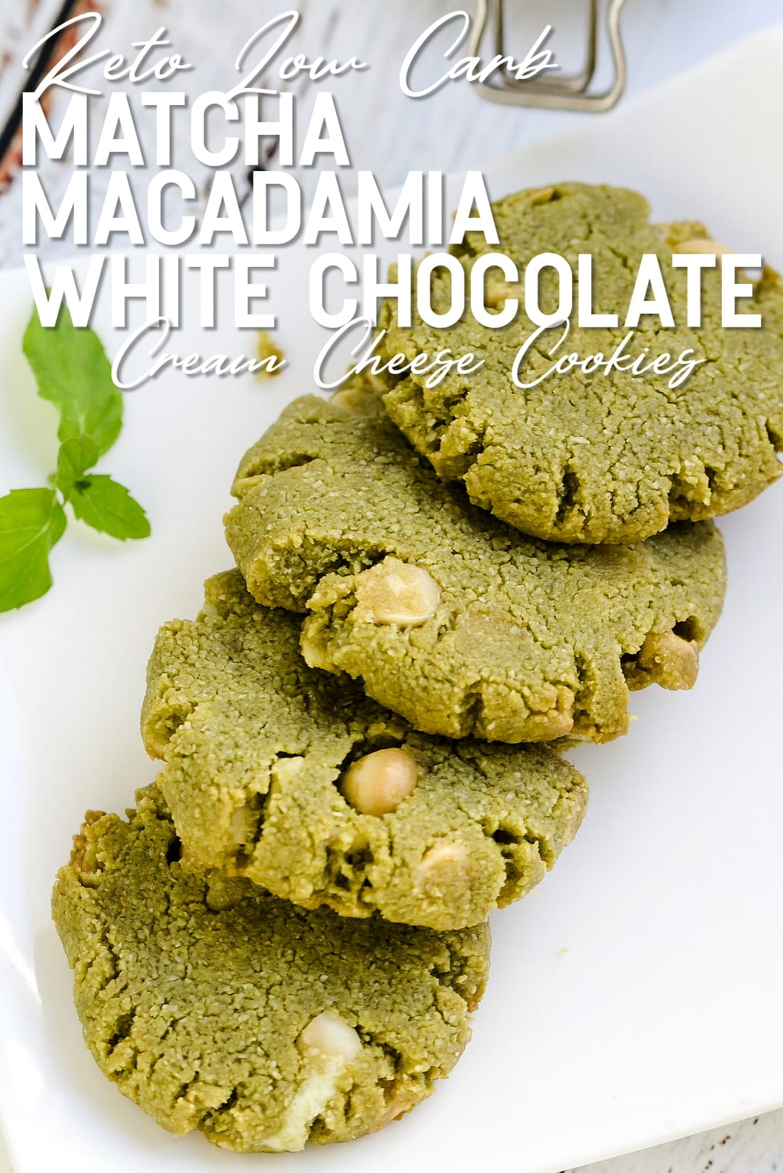 Matcha Cream Cheese Macadamia White Chocolate Chip Cookies LowCarbingAsian Cover laid out