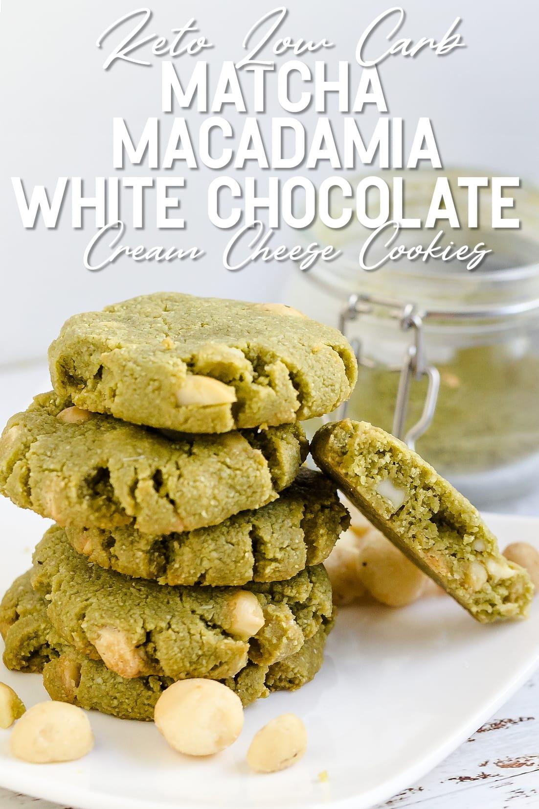 Matcha Cream Cheese Macadamia White Chocolate Chip Cookies broken apart