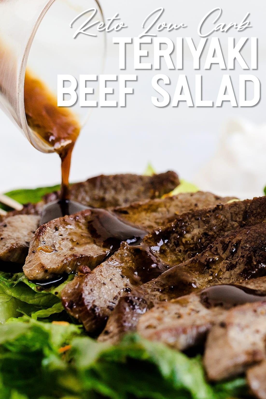 Teriyaki Beef Salad with sauce being poured