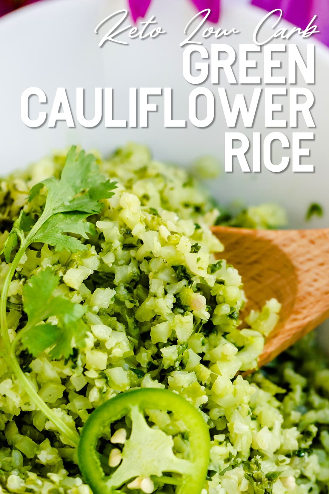 Green Cauliflower Rice Close Up with Spoon