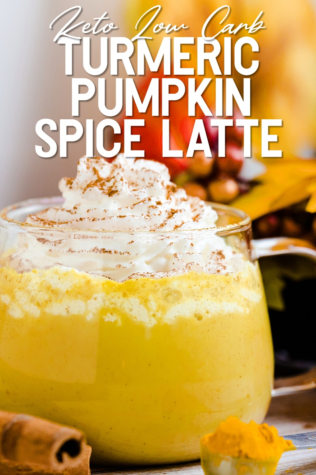 Keto Low Carb Turmeric Pumpkin Spice Latte side view with whipped cream