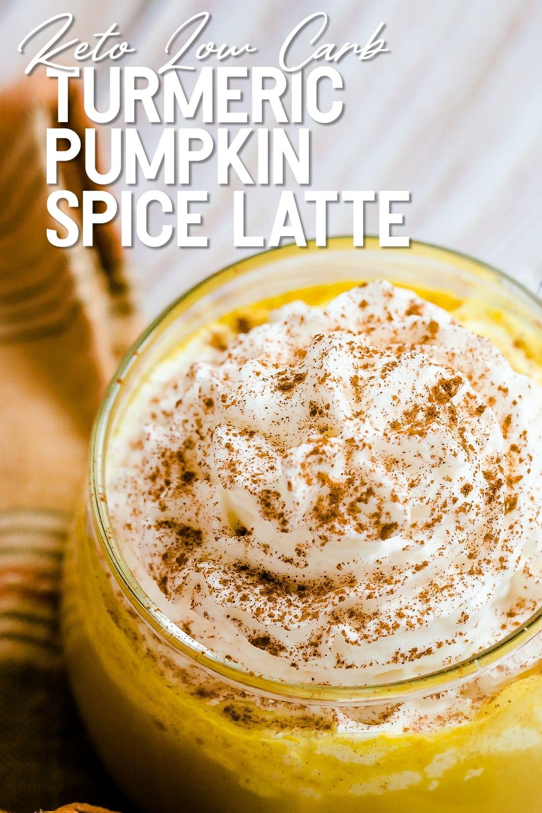 Keto Low Carb Turmeric Pumpkin Spice Latte top down shot