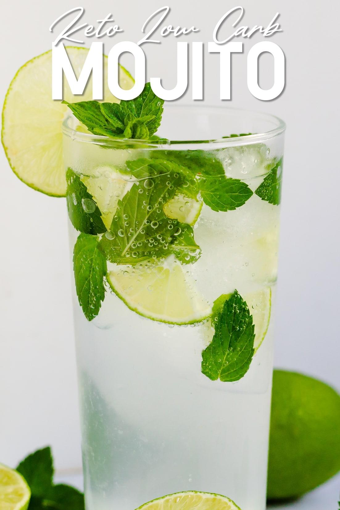 Keto Mojito poured in a glass tumbler