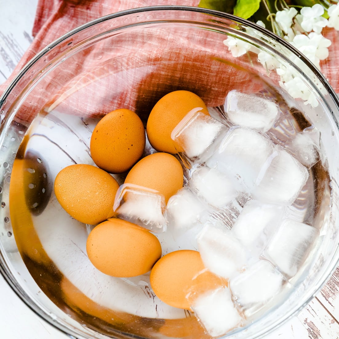 soft boiled eggs in an ice bath