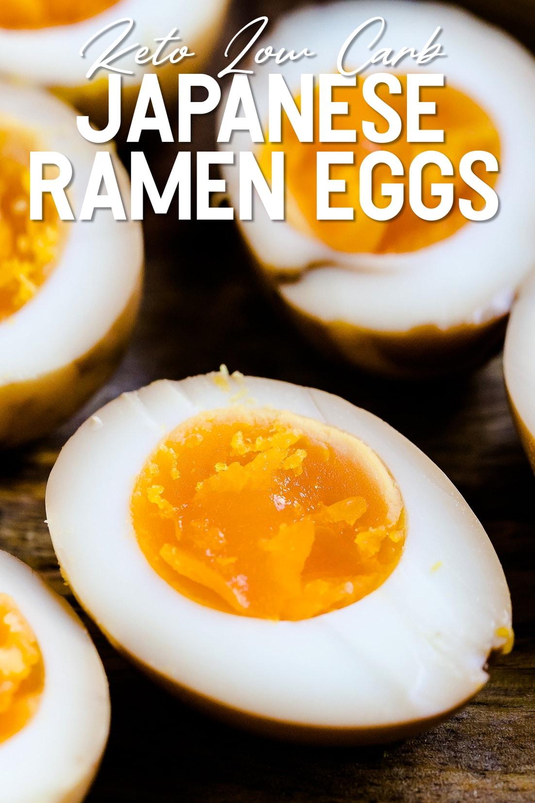 Japanese Keto Ramen Eggs cut in half served on wooden plank