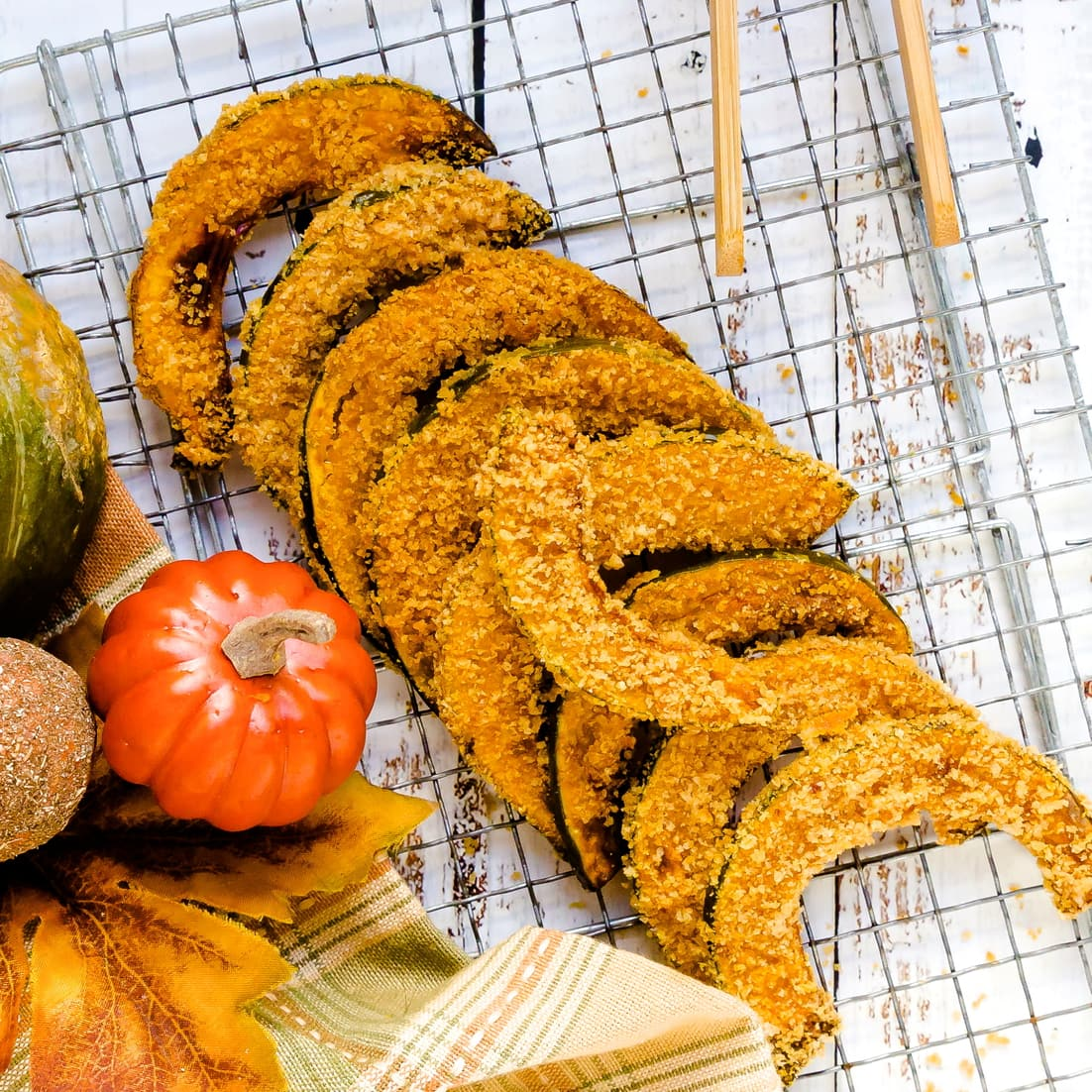 Keto Air Fryer Kabocha Pumpkin Fries layed out on a drying rack