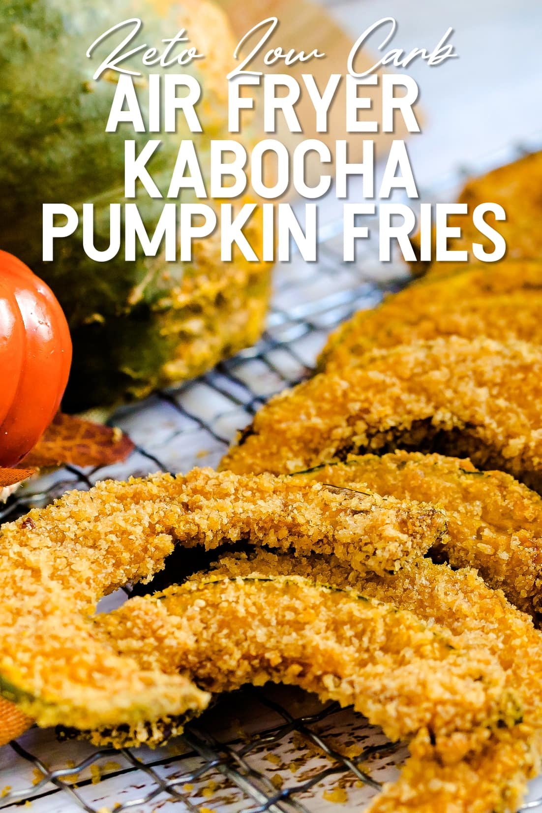 Keto Air Fried Kabocha Pumpkin Fries on a drying rack