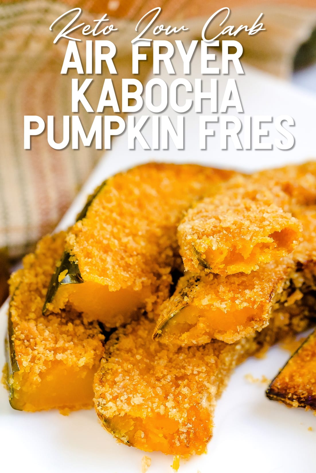 Keto Air Fried Kabocha Pumpkin Fries on serving plate ready to eat
