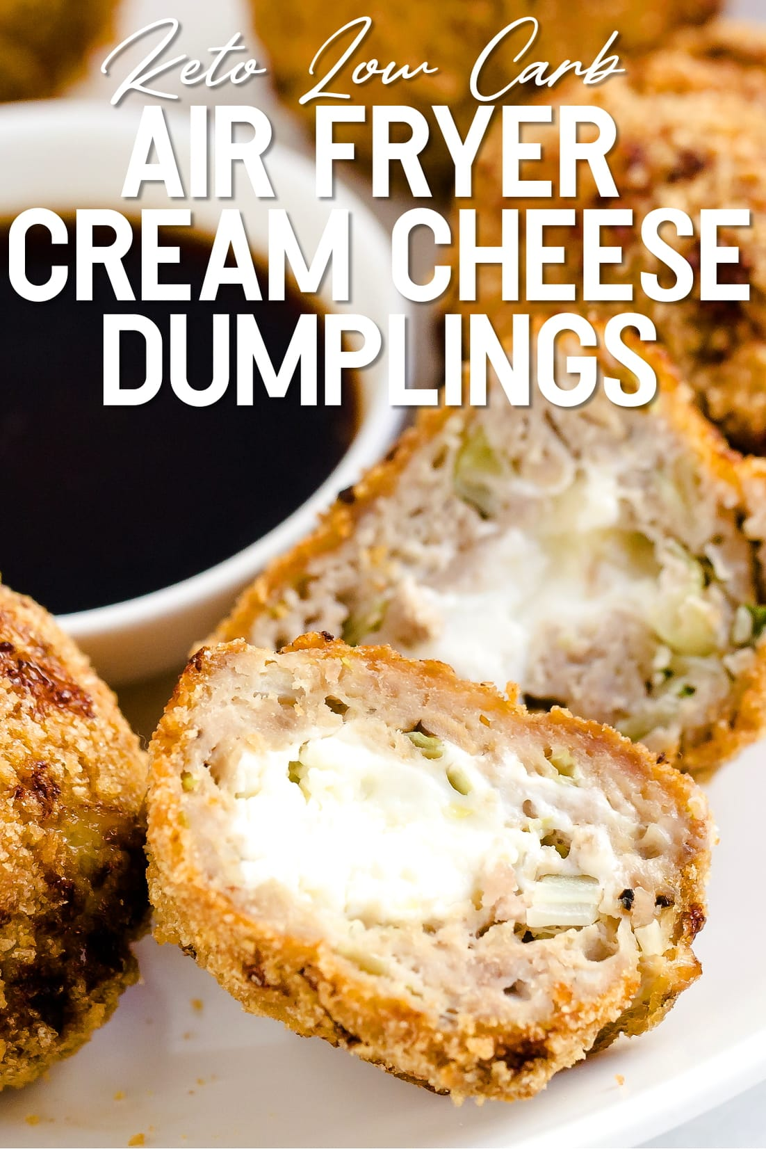 Air Fryer Cream Cheese Dumplings cut in half on a plate