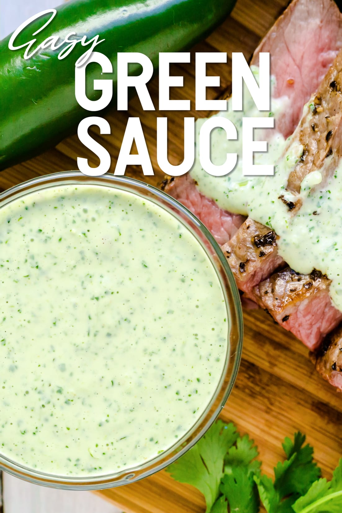 The green sauce served with grilled New York steak.