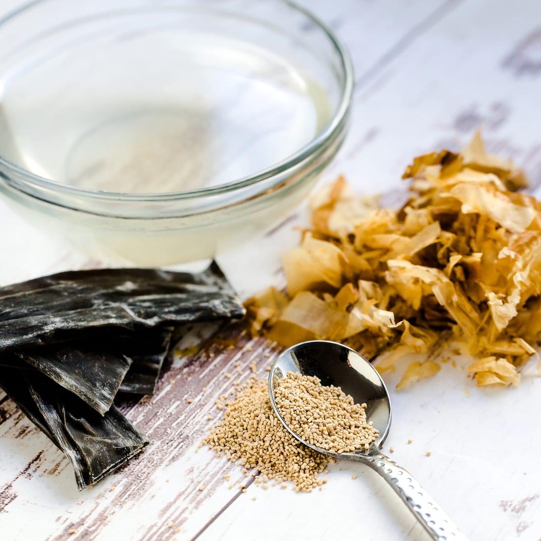 Ingredients for Japanese dashi broth