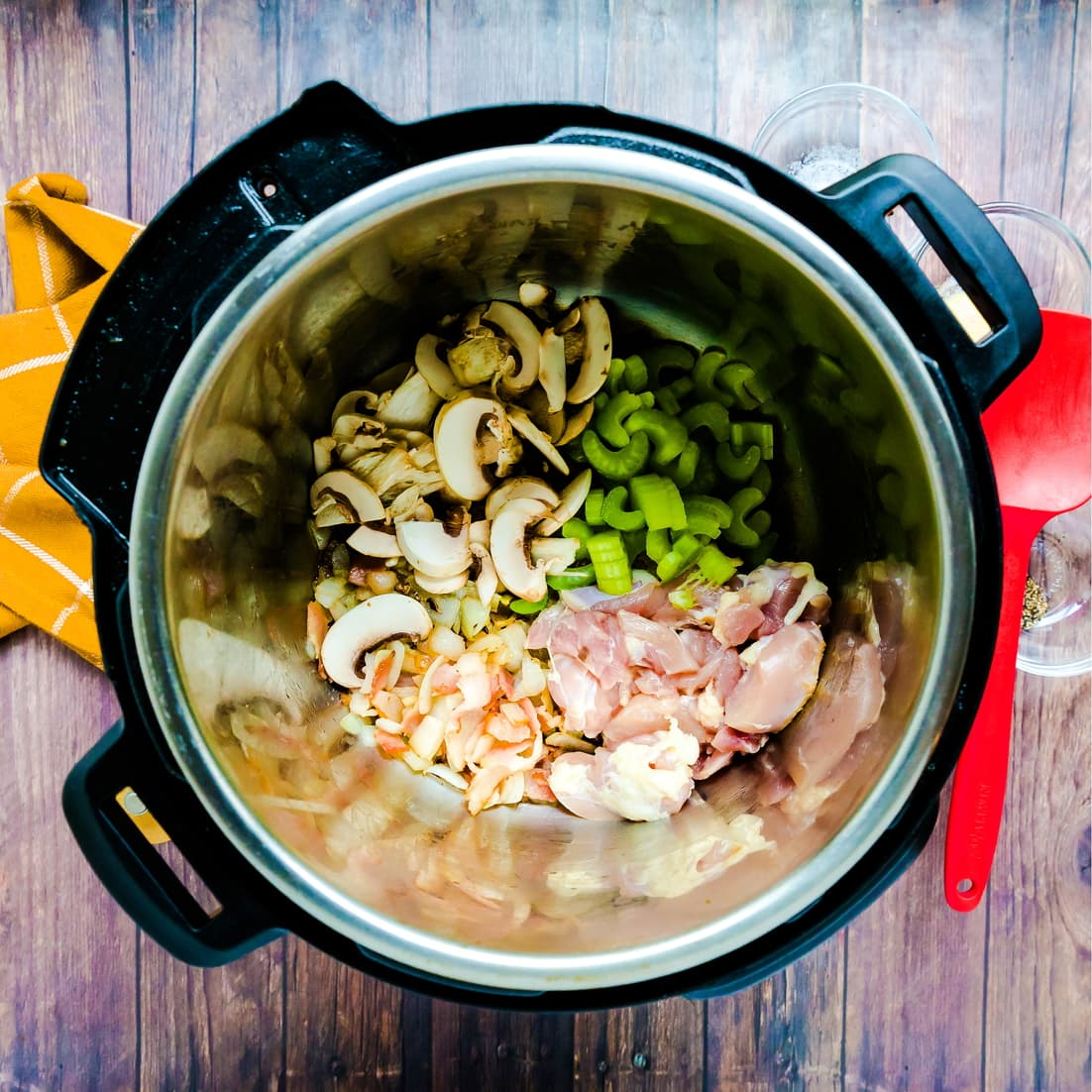 Ingredients for Keto Creamy Chicken Soup inside a instapot