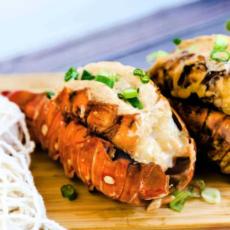 BBQ Lobster Tails with Miso Mayo Garlic with green onions