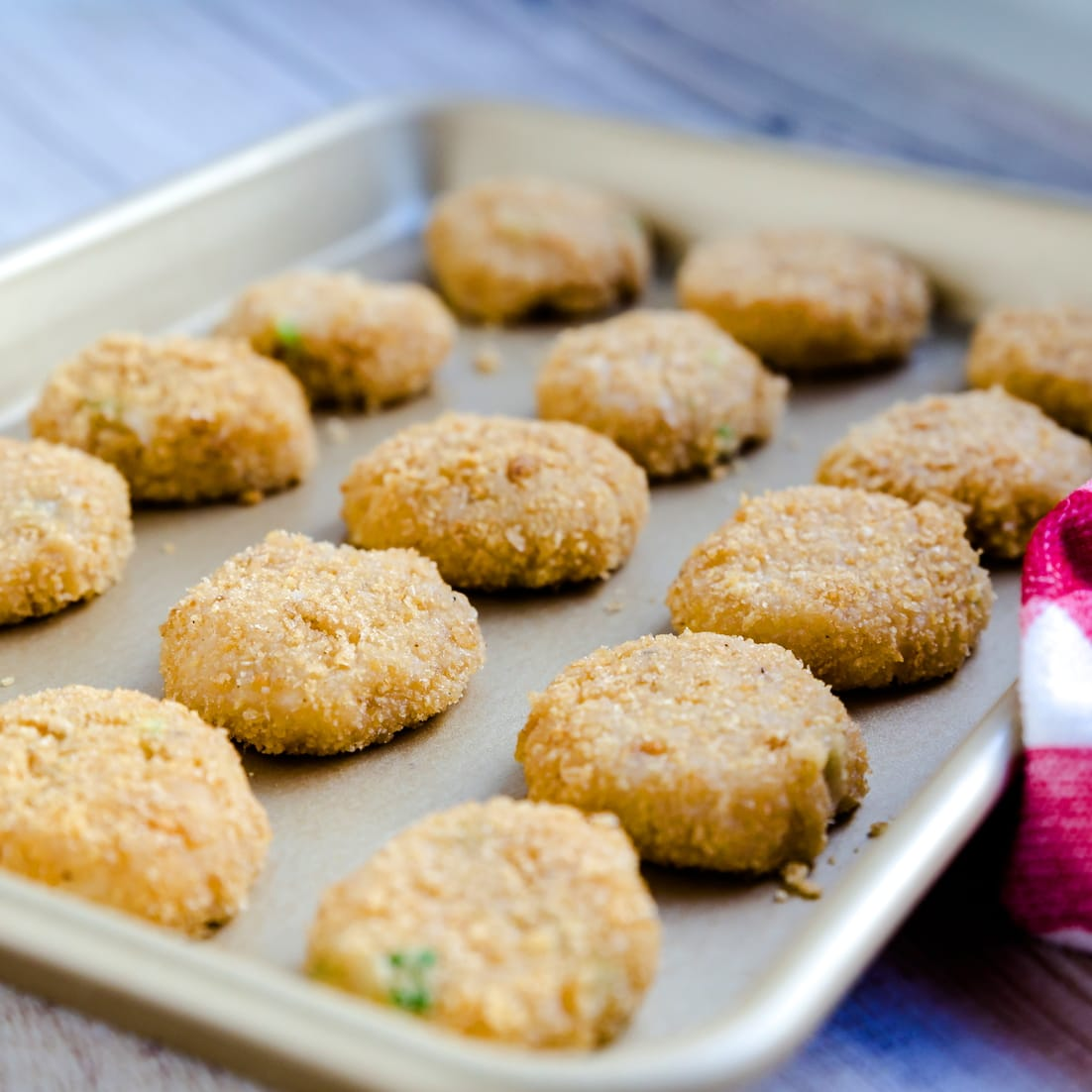 Keto chicken nuggest crusted ready for air frying