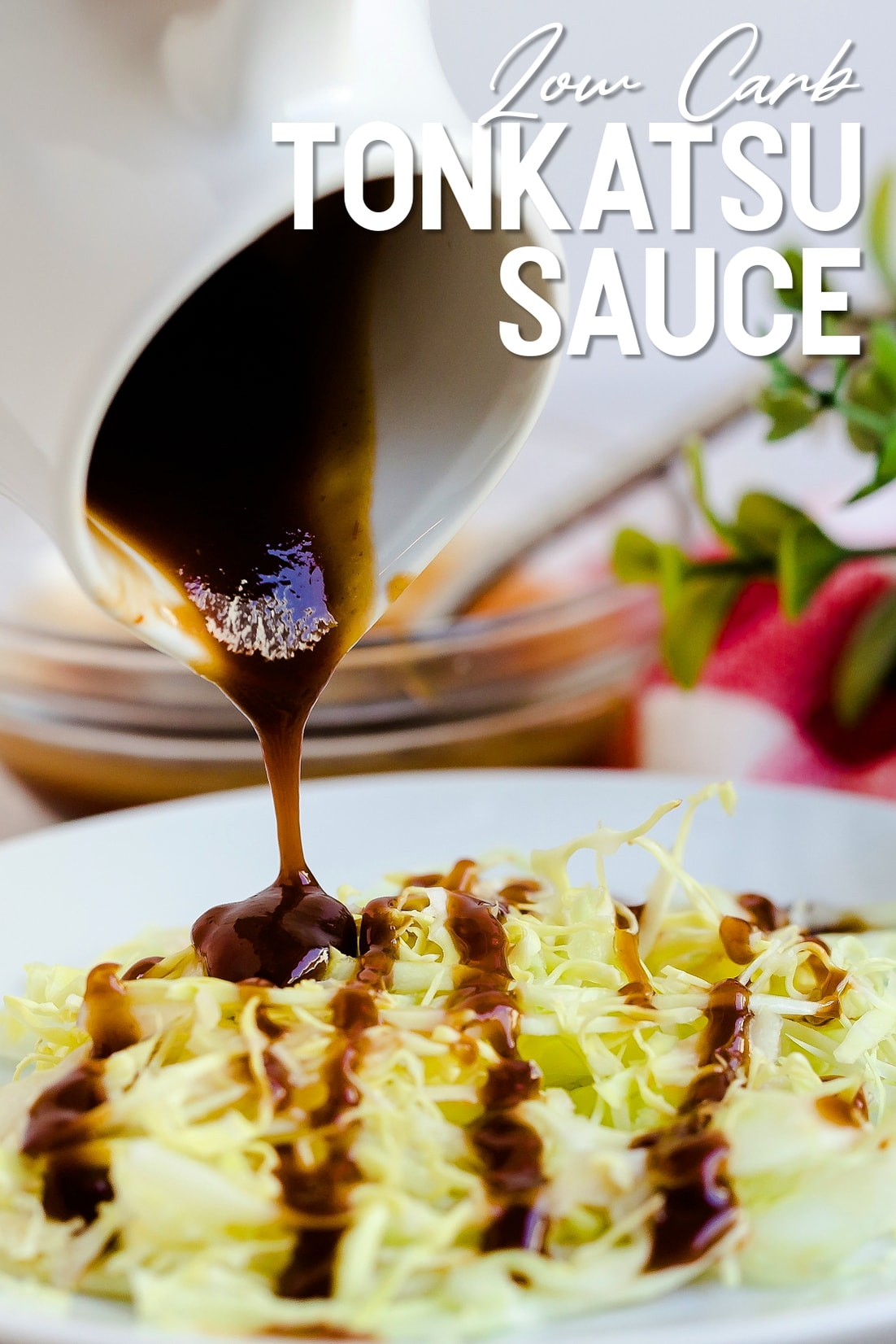 Low carb tonkatsu sauce being poured over a bed of cabbage