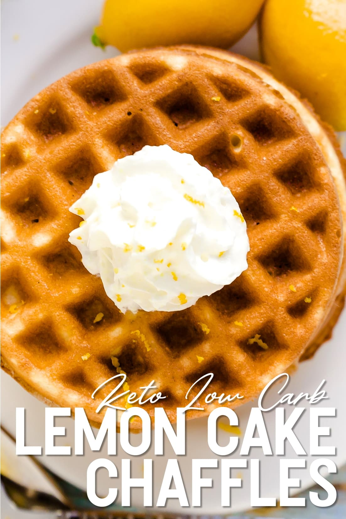 Lemon Cake Chaffles with whip cream top down shot